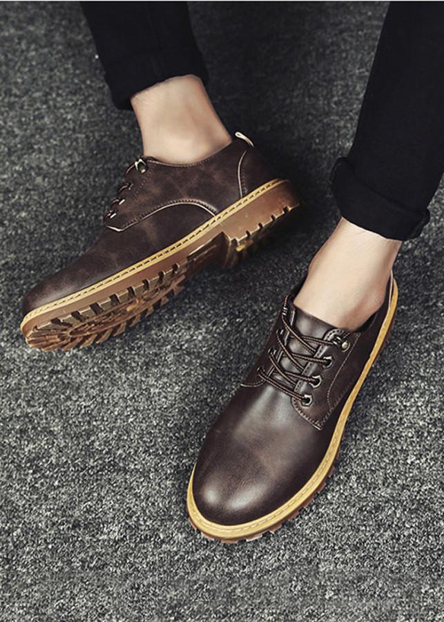 Giày Sneaker Nam Da thời trang (nâu đậm)