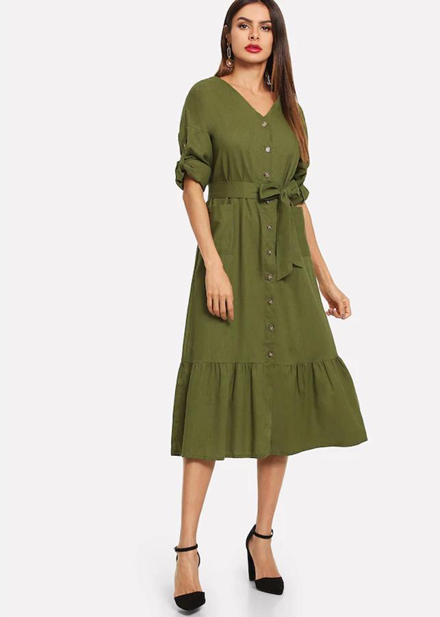 Đầm Nữ Suông Vintage - Xanh Rêu