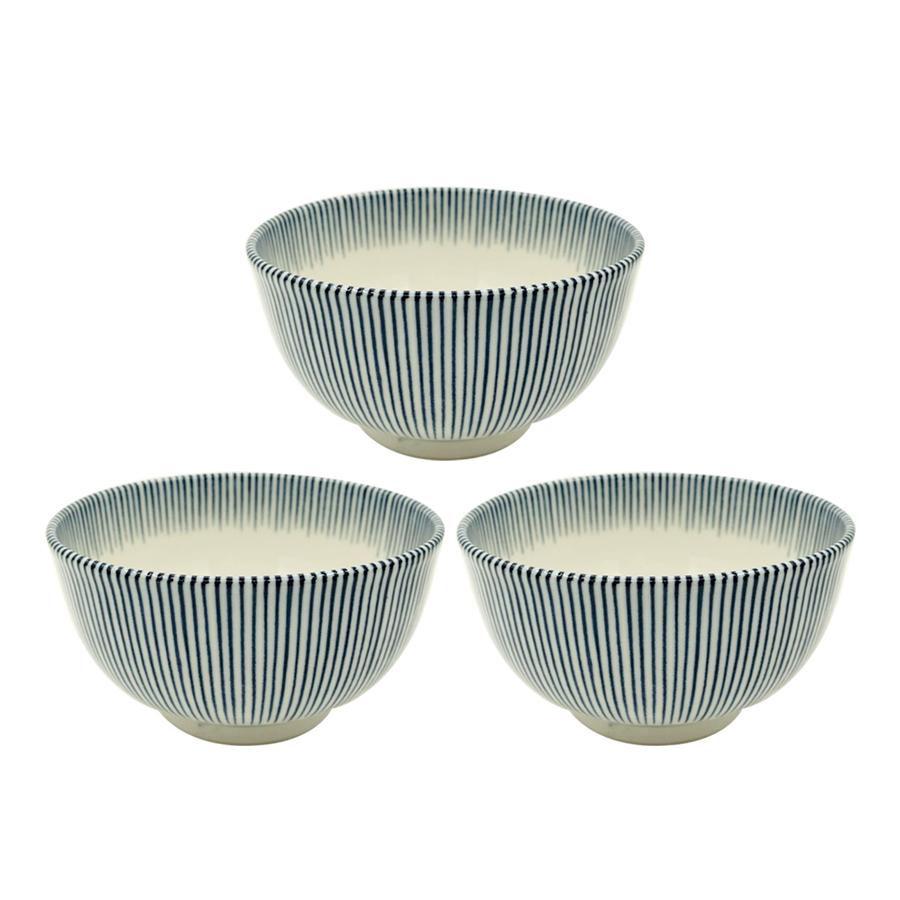 Bát Ceramic Men Lam Cao Cấp Họa Tiết Kẻ Sọc Hai Mặt - Nội Địa Nhật Bản