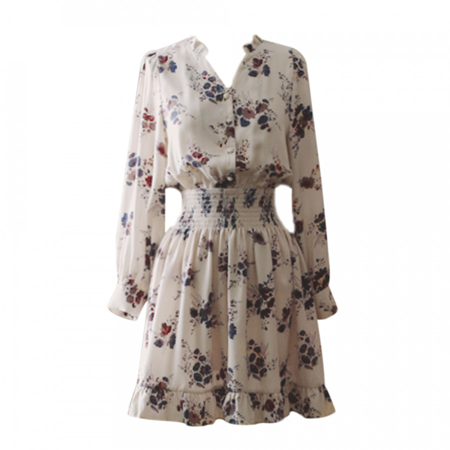 Đầm Chiffon Hoa Dài Tay