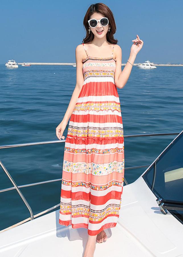 Đầm Maxi Hai Dây Họa Tiết (Freesize)