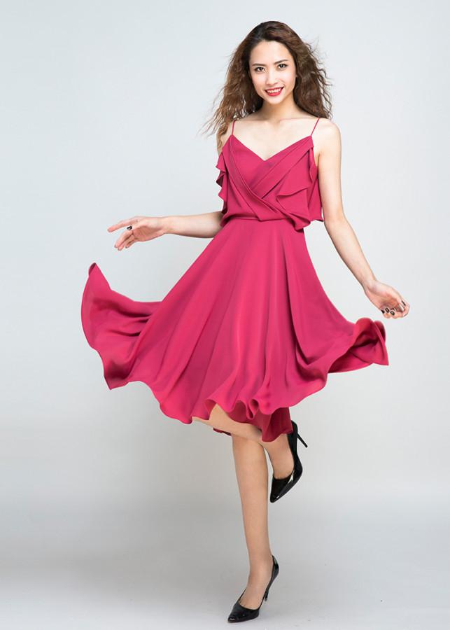 Đầm Xoè Đi Tiệc Tuyệt Đẹp Peach Blossoms DRE041 (Hồng Đào)