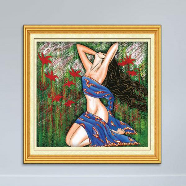 Tranh Khỏa Thân - Tranh Nghệ Thuật Cô Gái Giữa Đồng Hoa Canvas Có Viền W1162