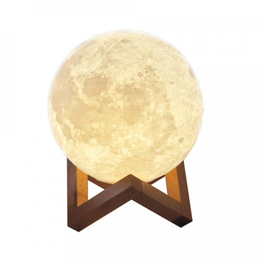 Aibecy 8cm/ 3.15 Inch Moon Lamp USB Rechargeable LED 3D Printed PLA Night Light Home Decorative Lights Touch Control