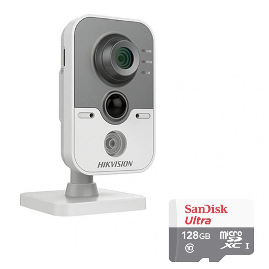 Camera IP Cube Hikvision DS-2CD2442FWD-IW 4.0MP Và Thẻ Nhớ 128GB - Tặng Kèm Tai Nghe Bluetooth
