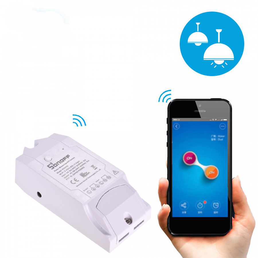 Sonoff Pow R2 WiFi Wireless Smart Switch Smart Home Wifi Remote Controller 15A Works With Google Home Alexa - White