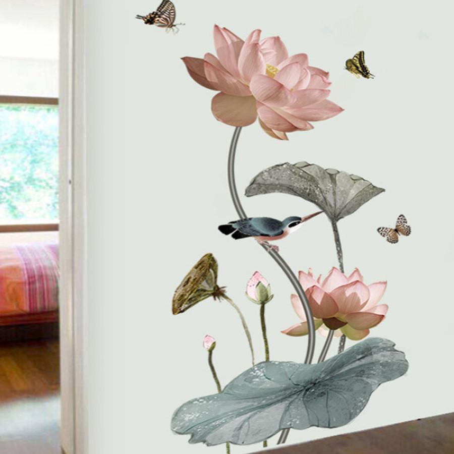 decal dán tường sen nâu và chim lá