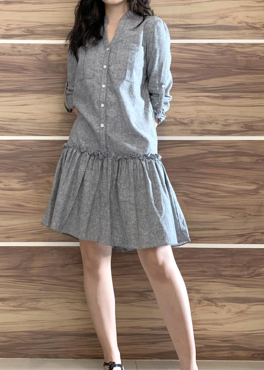 Đầm Suông Linen Tay Dài Cổ lãnh Tụ _ D0386