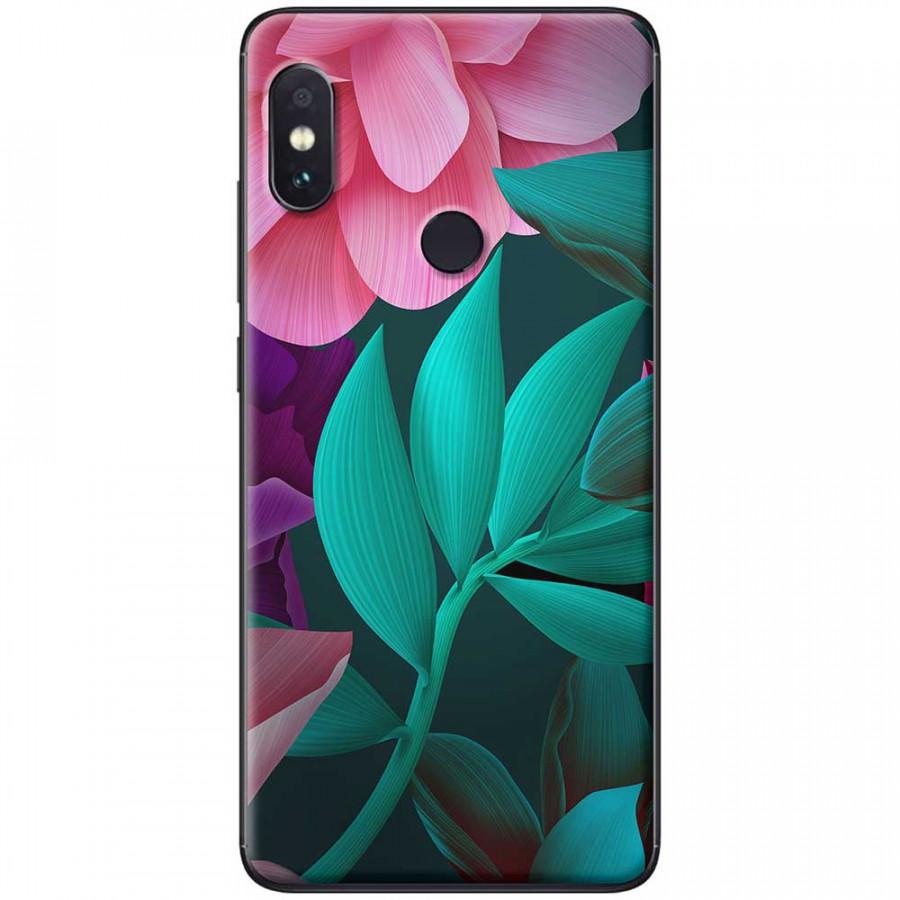 Ốp lưng dành cho Xiaomi Redmi Note 6 mẫu Hoa lá hồng xanh