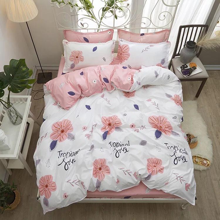 Bộ chăn ga gối cotton PL1 Hoa bèo hồng