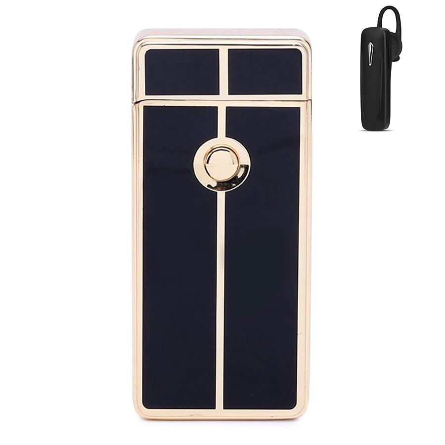 Combo Hộp Quẹt Bật Lửa Plasma Phóng Tia Lửa Điện Sạc USB ZB-308A-1 + Tai Nghe Nhét Tai (Giao Màu Ngẫu Nhiên)