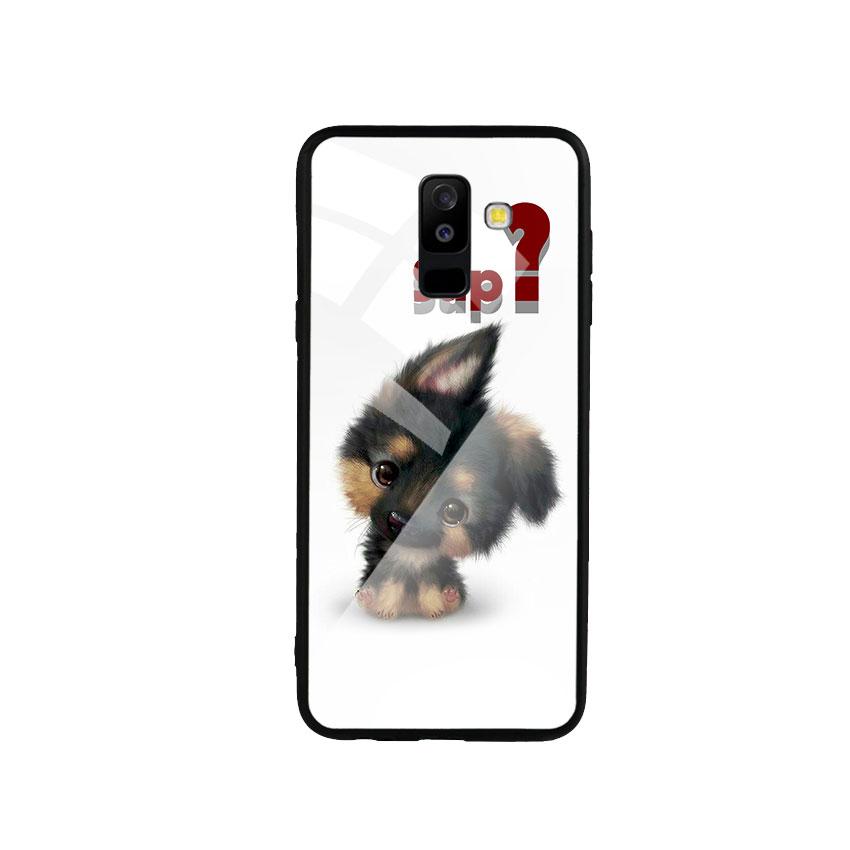 Ốp Lưng Kính Cường Lực cho điện thoại Samsung Galaxy A6 Plus 2018 - Cute Dog
