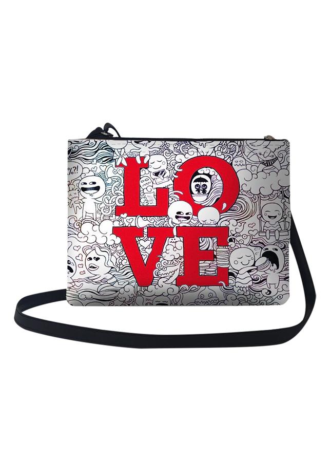 Túi Đeo Chéo Nữ In Hình Hình Trắng Đen Love - TUCP016 (24 x 17 cm)
