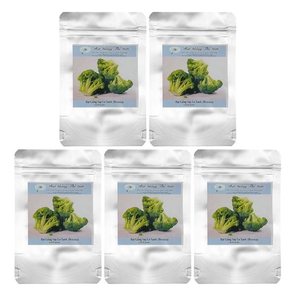 Bộ 5 Túi 2G Hạt Giống Súp Lơ Xanh (Brassica Oleracea Var. Botrytis)
