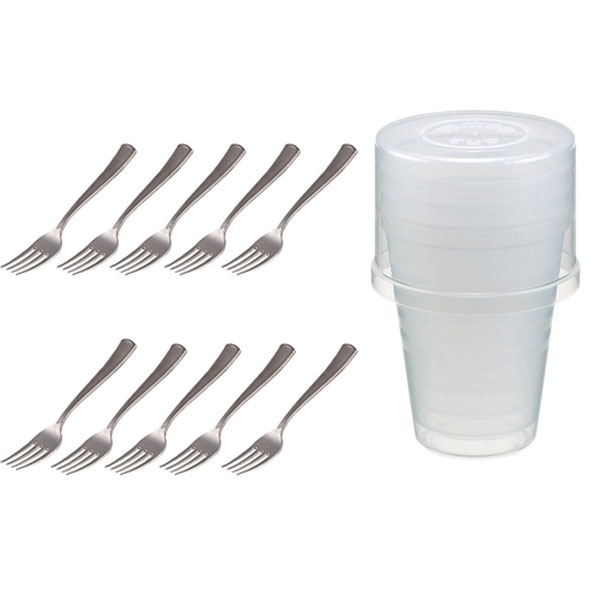 Combo 10 dĩa nhựa cỡ to + 5 cốc nhựa 380ml có nắp úp nội địa Nhật Bản