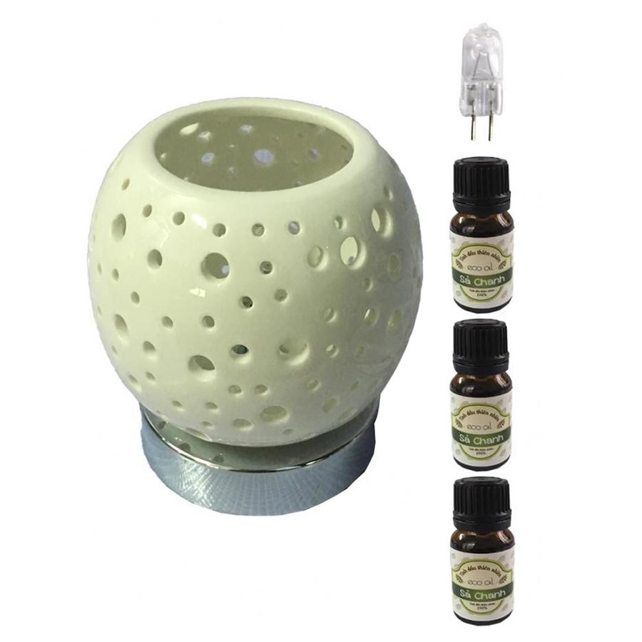 Đèn xông tinh dầu cảm ứng AH92 và 3 tinh dầu sả chanh Eco 10ml và 1 bóng đèn