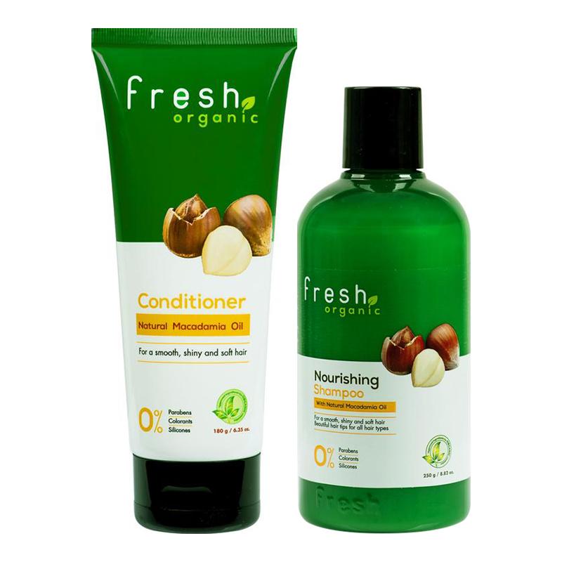 Bộ dầu gội và xả dưỡng tóc từ hạt Macca Fresh Organic Maccadamia Oil (Dầu gội 250g + Dầu xả 180g)