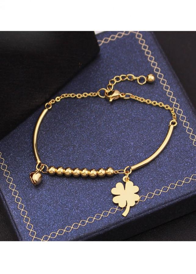 Lắc tay nữ inox cỏ bốn lá may mắn cách điệu chuông mạ vàng LT372 - 4753895 , 5403515784741 , 62_13568925 , 120000 , Lac-tay-nu-inox-co-bon-la-may-man-cach-dieu-chuong-ma-vang-LT372-62_13568925 , tiki.vn , Lắc tay nữ inox cỏ bốn lá may mắn cách điệu chuông mạ vàng LT372