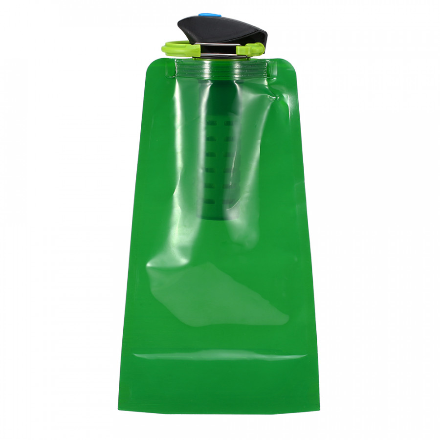 750ml BPA Free Foldable Flexible Water Filter Bag Bladder Water Filtration Bottle with Carabiner for Outdoor Emergency
