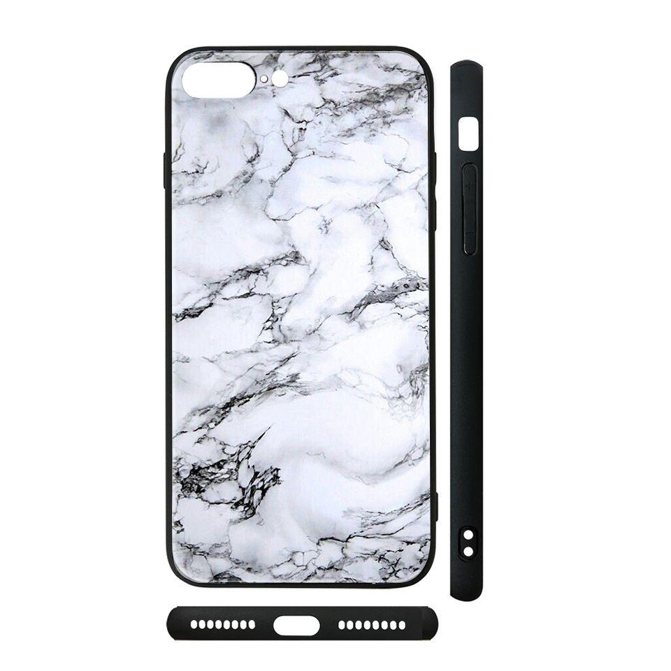 Ốp kính cho iPhone in hình đá trắng - dah006 (có đủ mã máy)