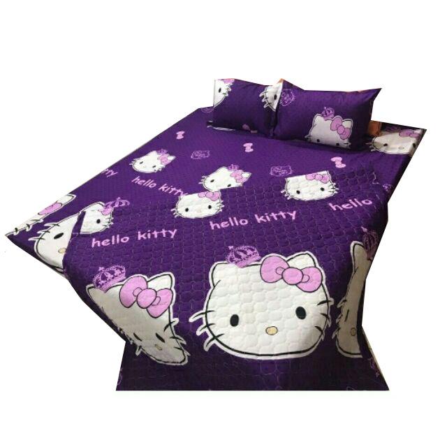 Set 5 món chăn hè ga chun Cotton Poly kitty tím