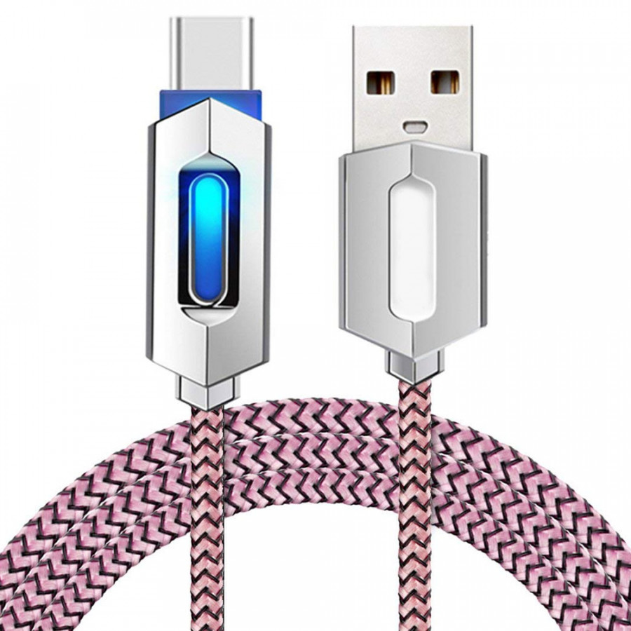 Type-C Fast Charging Cables Data Cable Potable 2A Nylon Gadget LED
