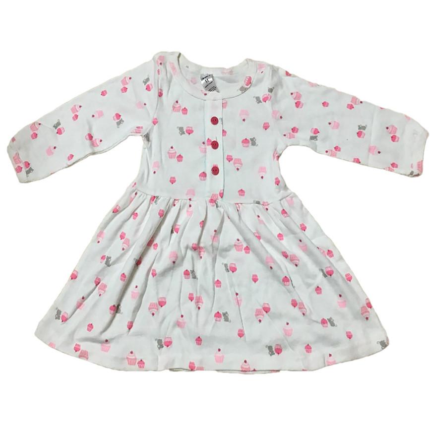 Váy đầm dài tay cho bé gái size 1-7 chất cotton (Giao màu ngẫu nhiên)