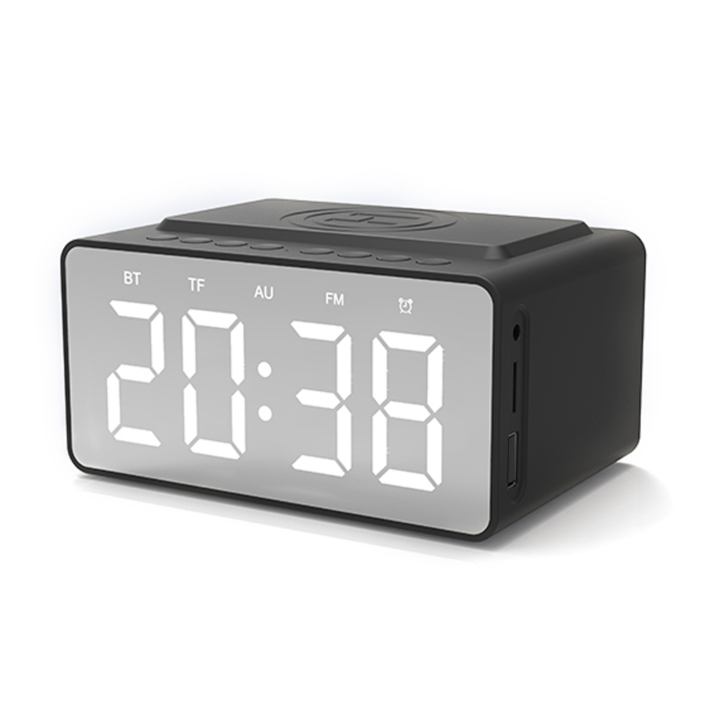 BT-508 Wireless Bluetooth 5.0 Speakers Time Screen Display Double-horn Subwoofer Alarm Clock Wireless Phone Charging - Black