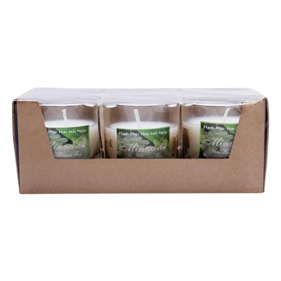 Hộp 6 Ly Nến Thơm Votives Hương White Persian Tea Miss Candle FtraMart NQM0413 - Trắng