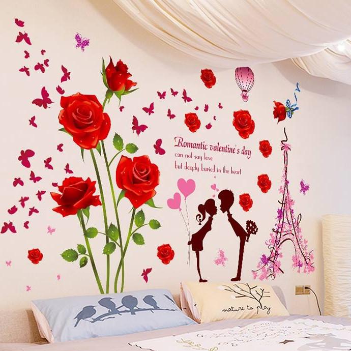 Decal dán tường Hoa hồng nhung đỏ và Cặp đôi - HP213