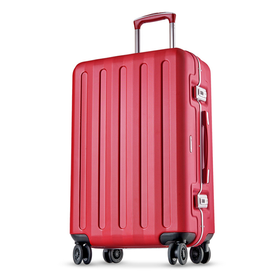 Echolac aluminum frame trolley case scratch-proof double TSA password lock luggage double row 8 wheel suitcase PCT008E red 24 inch