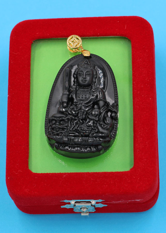 Mặt dây chuyền Phật Văn Thù Bồ Tát thạch anh đen 5 cm kèm hộp nhung phật bản mệnh tuổi Mão