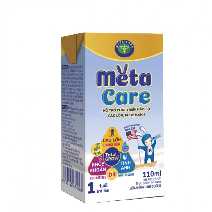 Thùng sữa nước pha sẵn Nutricare Metacare - phát triển toàn diện cho trẻ từ 1 tuổi (110ml x 48 hộp)