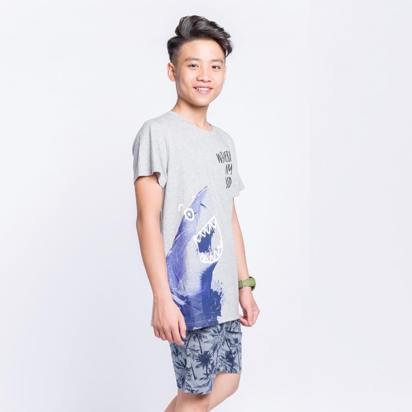 Bộ cộc tay in cá mập cho bé trai K