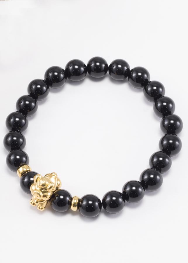 Vòng Tay Đá Thiên Thạch Charm Tuổi Hợi Bạc Mạ Vàng 24K Ngọc Quý Gemstones