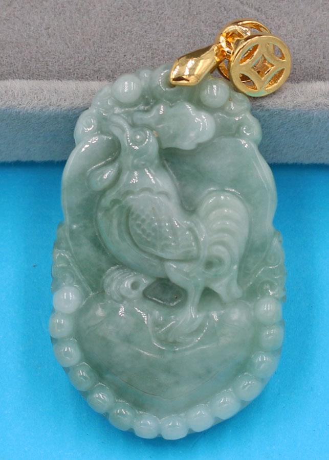 Mặt dây chuyền - khắc hình tuổi Dậu - đá cẩm thạch MCGCTX5 - linh vật tuổi Dậu