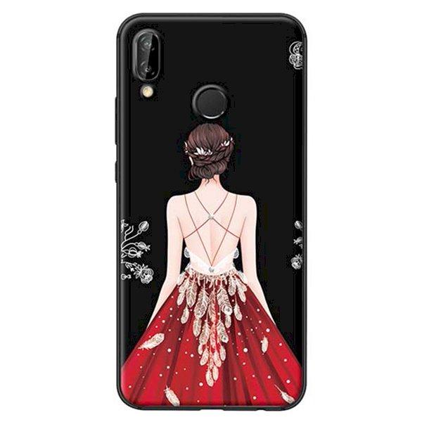 Ốp Lưng Dành Cho Huawei Nova 3E Cô Gái Váy Đỏ Nền Đen