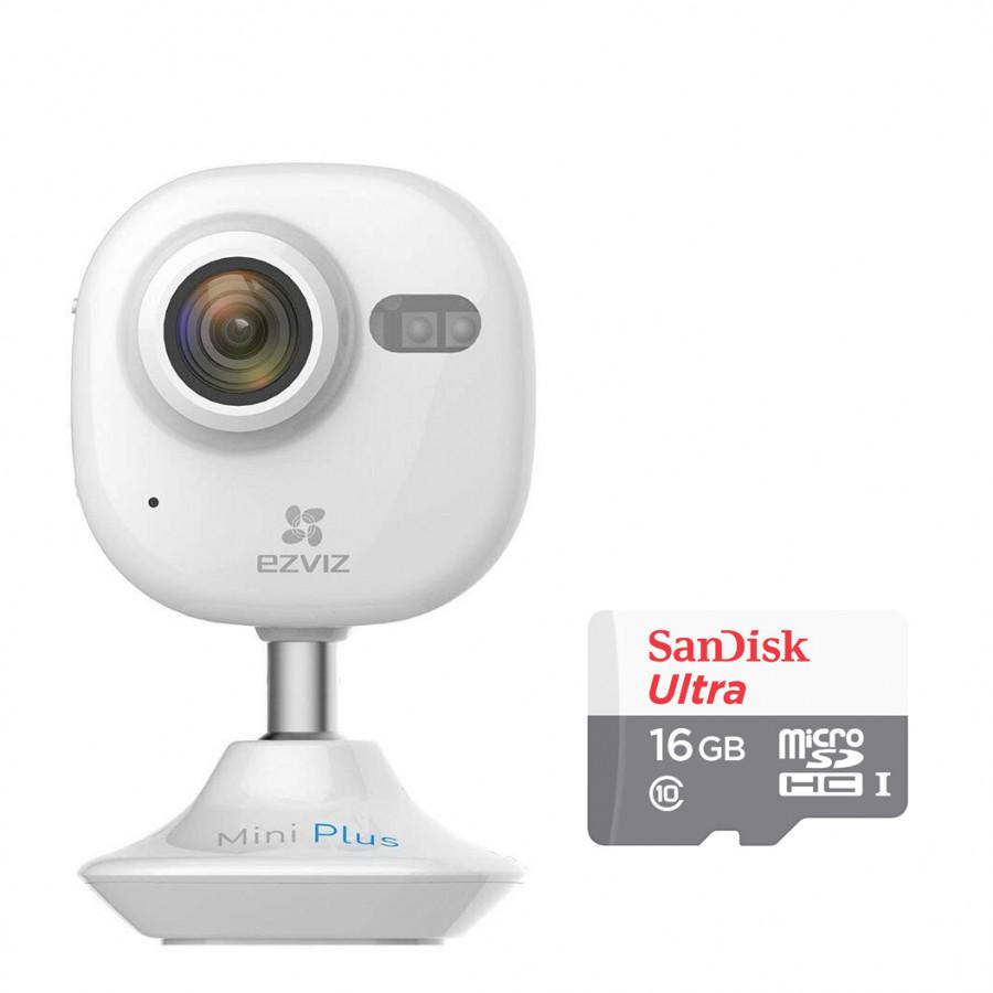 Combo Camera IP Wifi Không Dây Ezviz Mini Plus 1080P (CS-CV200-A0-52WFR) Và Thẻ Nhớ 16GB - Tặng tai nghe Bluetooth