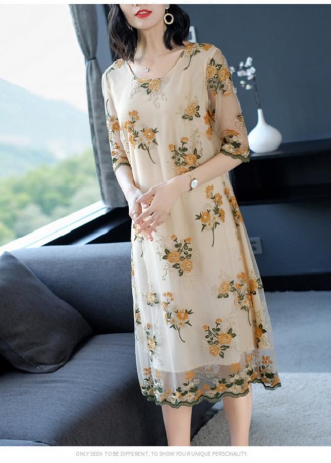 Đầm Suông Trung Niên_Váy Trung niên_Váy Suông_Đầm Suông_ HDS036