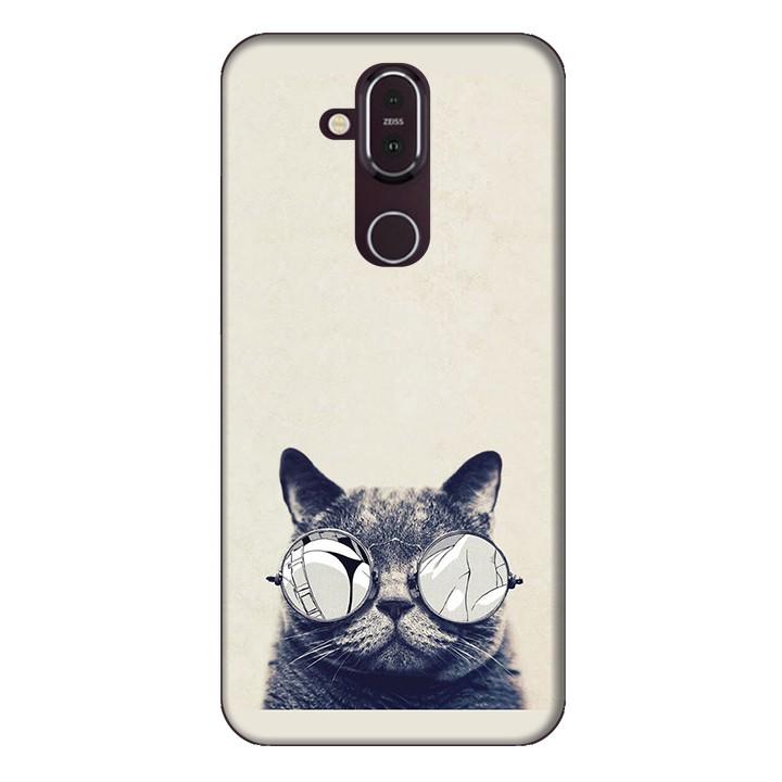 Ốp lưng dành cho điện thoại Nokia 8.1 Mèo Con Đeo Kính Mẫu 1