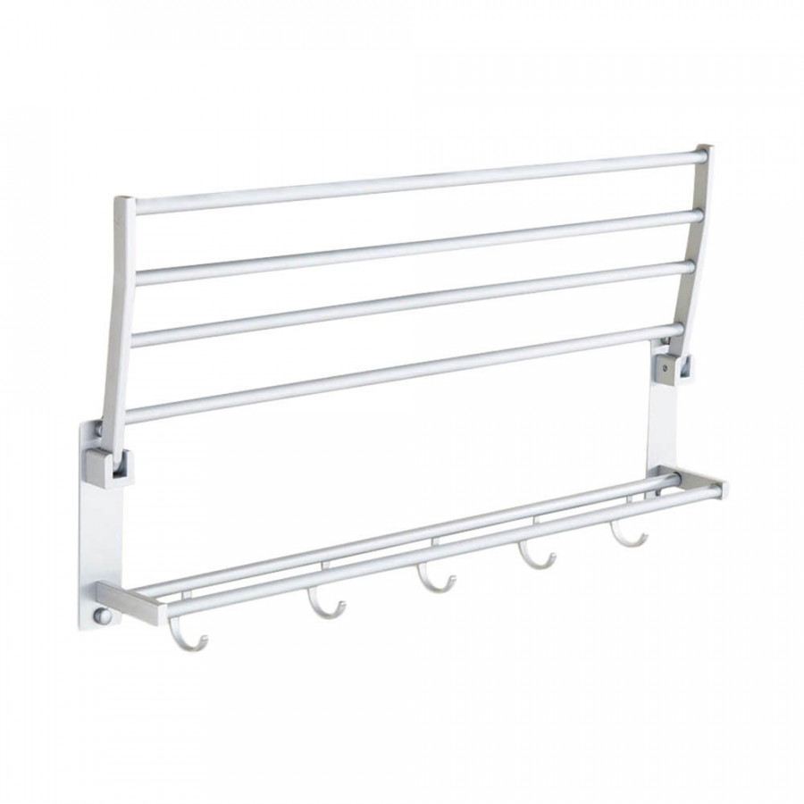 Towel Rack Double Towel Rack Convenient 5 Hooks Aluminum Organizer Bathroom
