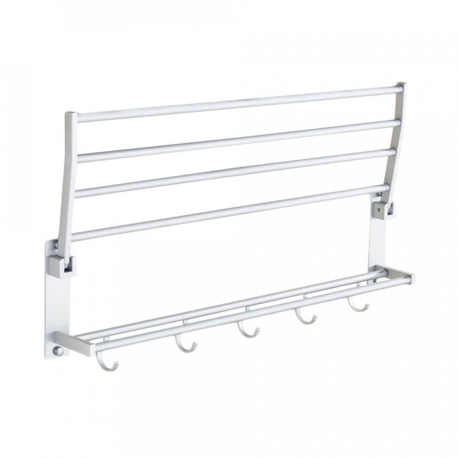 Towel Bar Double Towel Rack Foldable Aluminum Punching Commodity Shelf Organizer