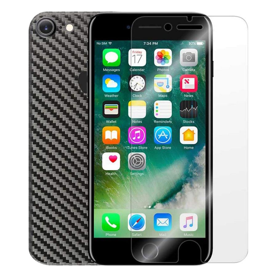 Bộ Kính Cường Lực iPhone 7 / 8 Remax (Trong Suốt) Và Miếng Dán Mặt Sau Vân Carbon (Đen) - Hàng Chính Hãng
