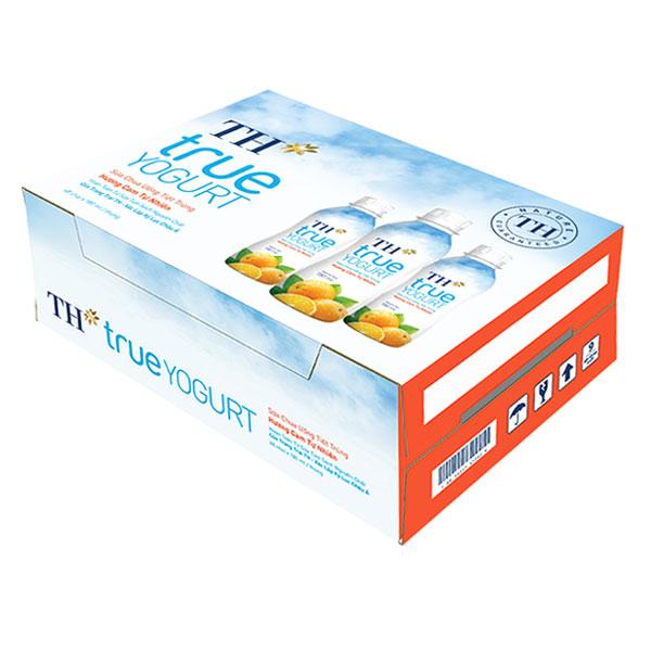 Thùng Sữa Chua Uống Tiệt Trùng Hương Cam TH True Yogurt 180ml x 48 Chai