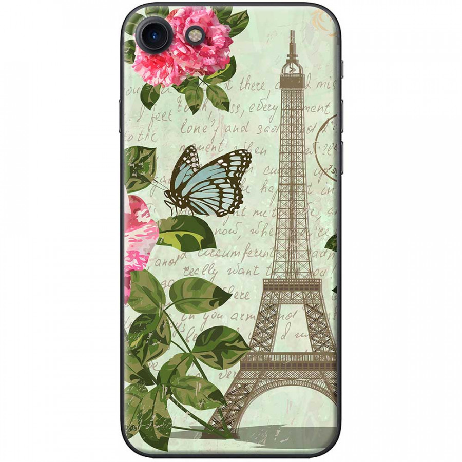 Ốp lưng dành cho iPhone 7 mẫu Tháp Effiel con bướm