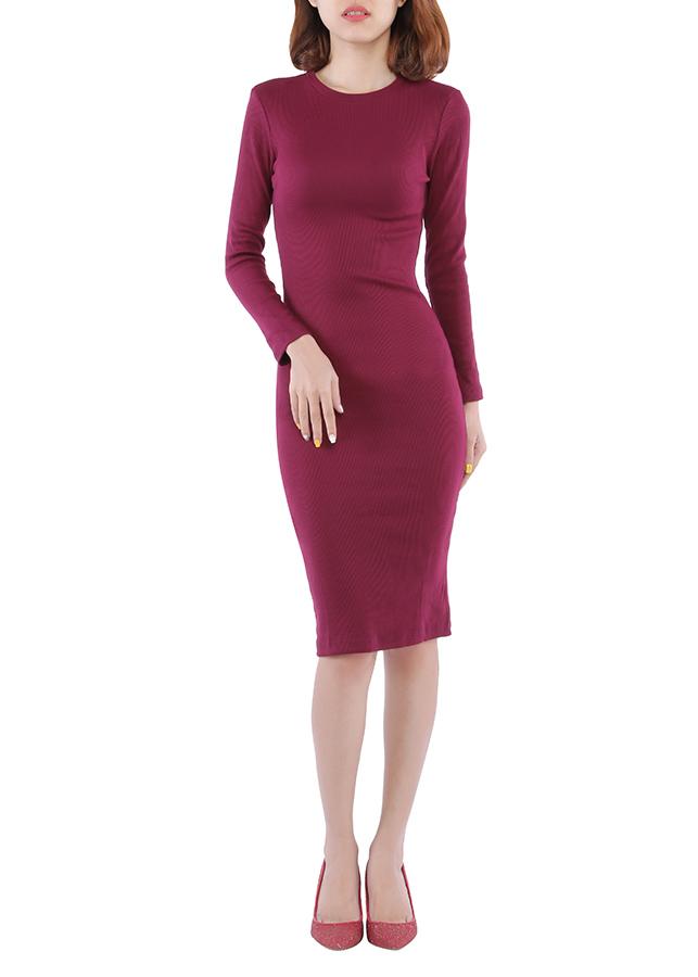 Đầm Body Thun Gân Tay Dài VD06 (Free Size)