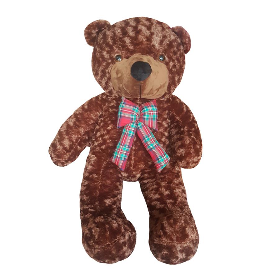 Gấu bông teddy nơ kẻ 1m - Màu nâu socola