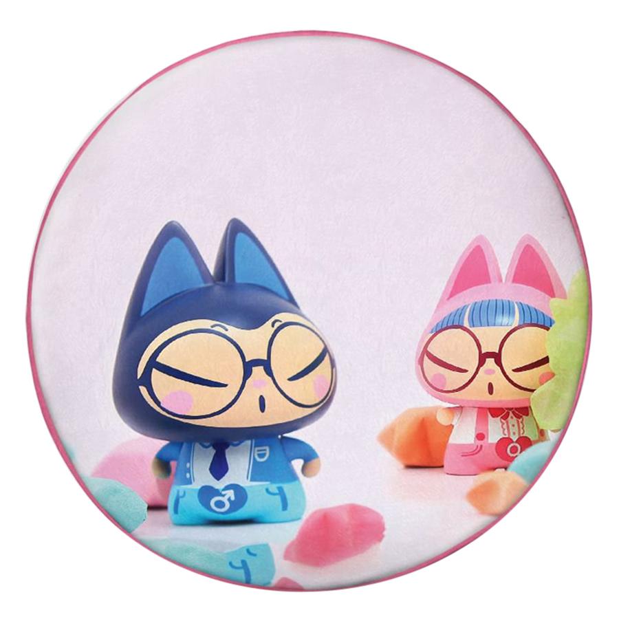 Gối Ôm Tròn In Hình Cặp Đôi Mèo Và Sao Giấy - GOCP273