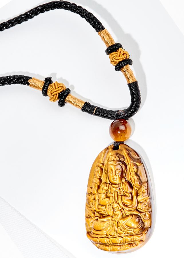 Mặt Dây Chuyền Thiền Thủ Thiên Nhãn Bồ Tát Đá Mắt Hổ ( 3.6 x 2.3 cm) Ngọc Quý Gemstones