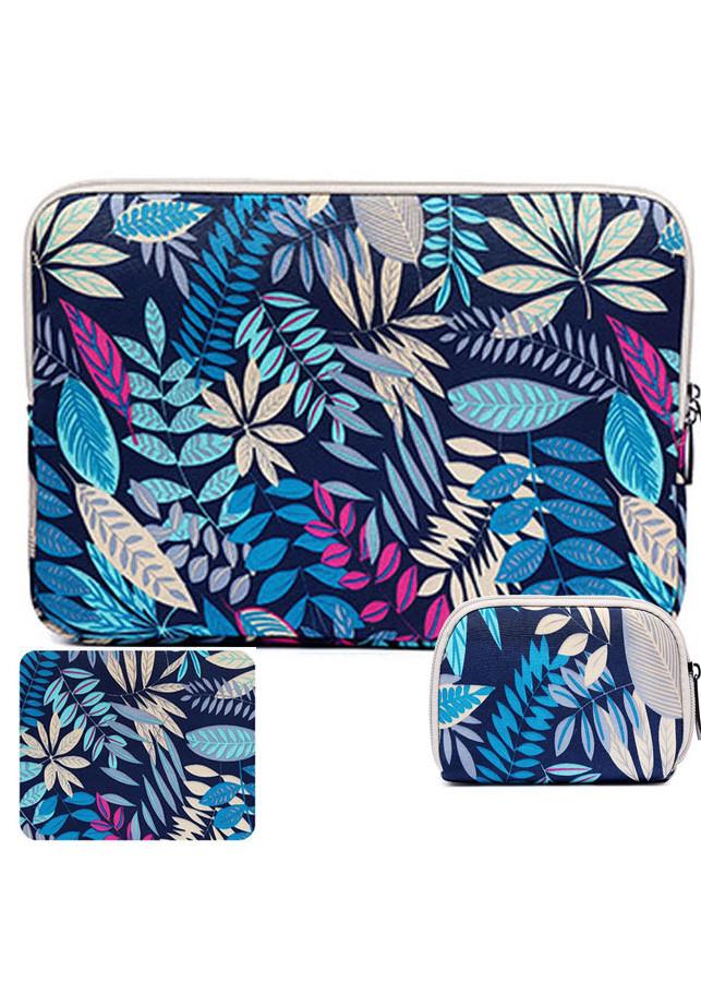 Combo túi chống sốc laptop 12 inch + túi đựng chuột + miếng lót chuột cùng màu họa tiết hoa văn